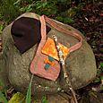 hat, satchel & walking stick